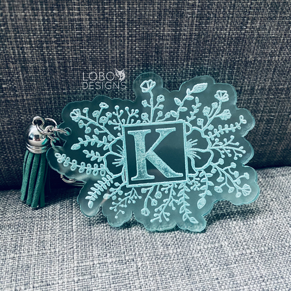 Square Floral Design Keychain w/ Initial