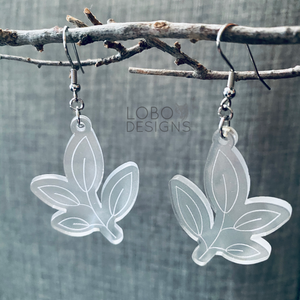 Frosted Acrylic Leaf Design Earrings