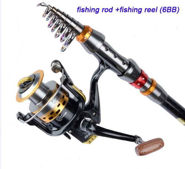 Carbon Fiber Telescopic Fishing Rod and Reel Set