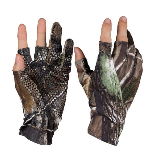 Camouflage Fingerless Elastic Gel Fishing Gloves