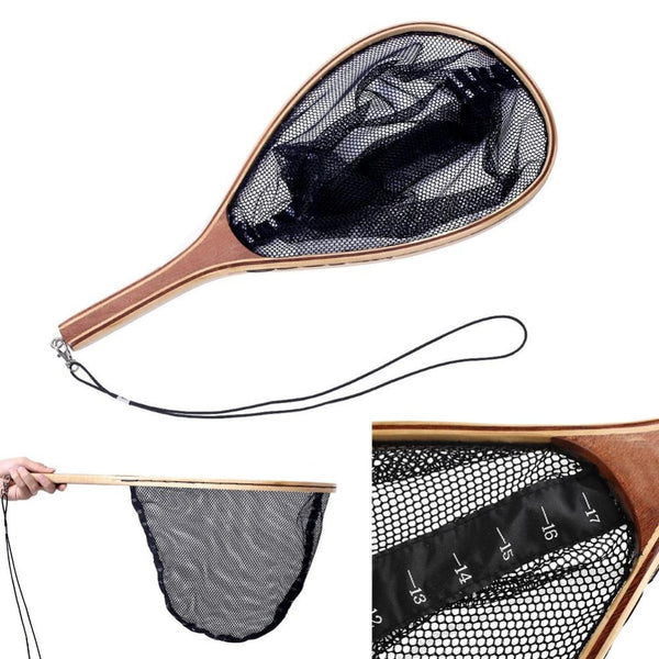 Durable Wooden Fly Fishing Landing Net With Catch and Release Vintage Frame