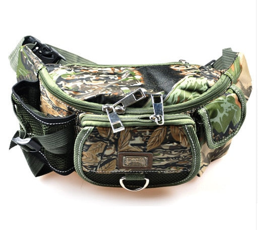 Multifunctional Fishing Bag Army Green Camouflage Waist Pack 30x9x14cm