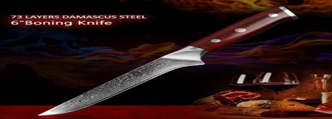 "High Quality Damascus Steel 6"" Boning Filet Fish knife with Rosewood handle"