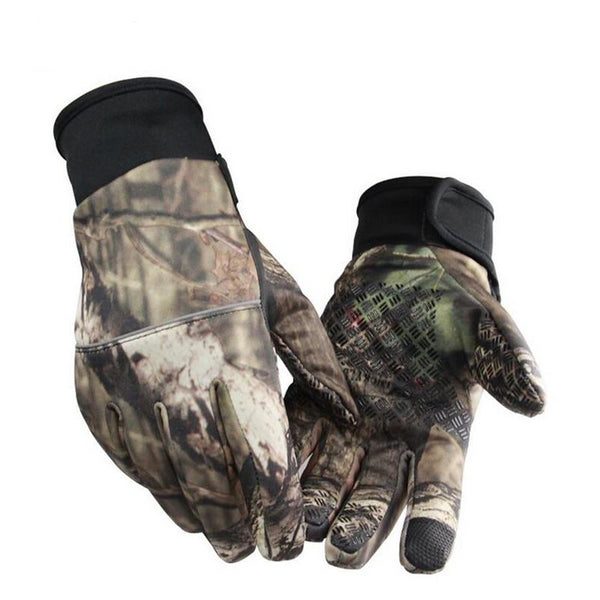 Camouflage Fishing Gloves  Anti-Slip 2 Fingers Cut
