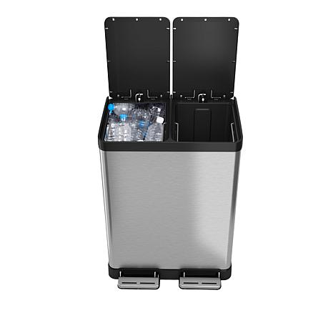 Stainless Steel 16 Gallon Step-On Multi-Compartments Trash and Recycling Bin