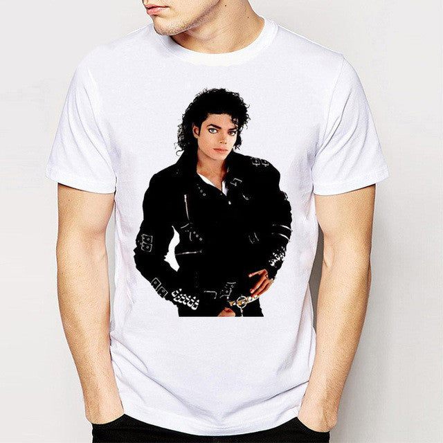Track Ship+New Vintage Retro Cool Rock&Roll Punk Tees T Shirts You Remember Michael Jackson Black Leather Styling