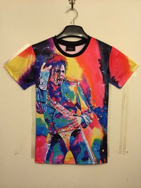 Harajuku Summer syle 2017 Women/Men Clothing Funny Michael Jackson Color Printed 3d T Shirt Punk Camisetas  Tops Tee Plus Size