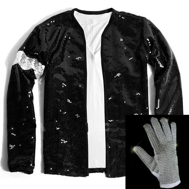 Rare Super MJ Michael Jackson Black Sequin Armband Jacket And Glove Outwear Costumes Cosplay Tailor Made or Normal Size