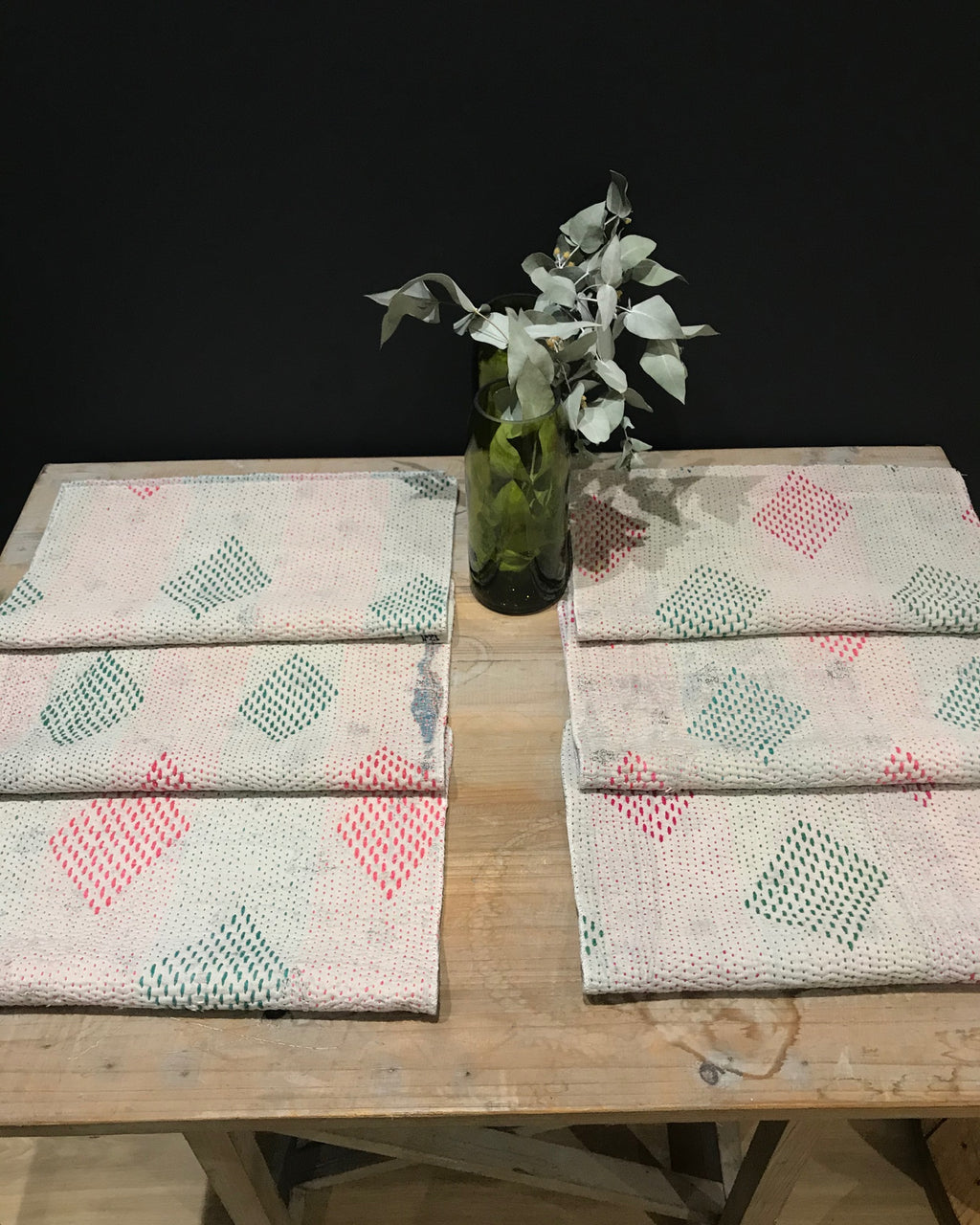 Pack de 6 Sets de Table Vintage Kantha, n° 6 - -Claire Gasparini-Halo Concept