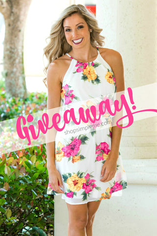Ivory White Pink Yellow Floral Dress Giveaway Enter to Win Shop Simply Me Boutique