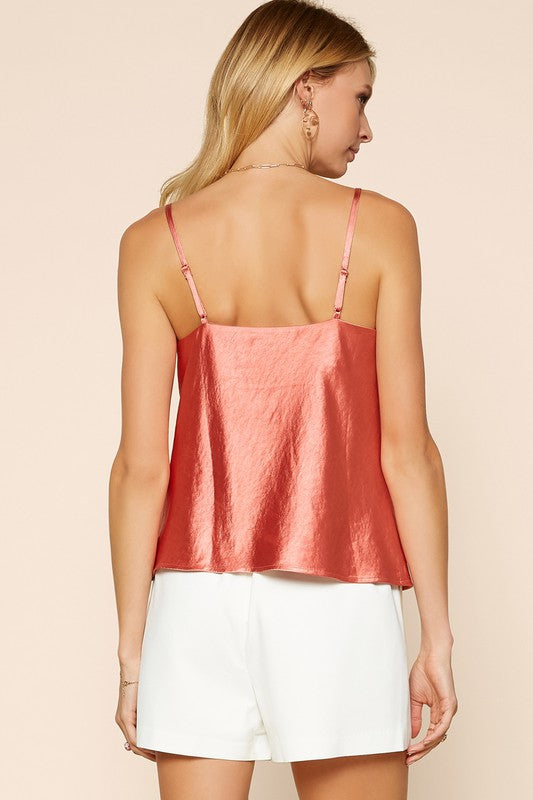(Terracotta) Satin Cowl Neck Cami
