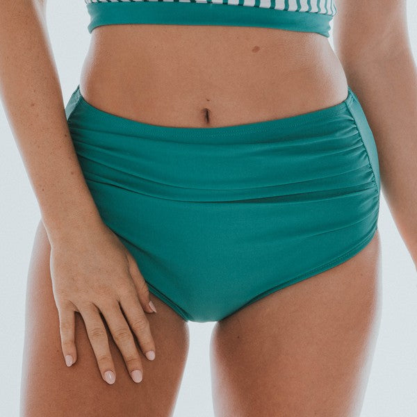 Turks Mid/High Rise Ruched Tankini Bikini BOTTOM (GREEN)