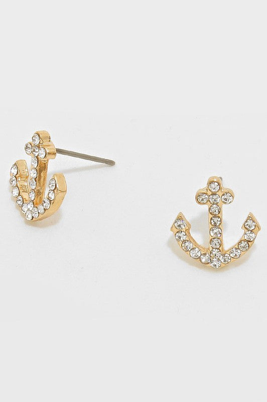Small Rhinestone Anchor Stud Earrings Gold (Clear Crystals)
