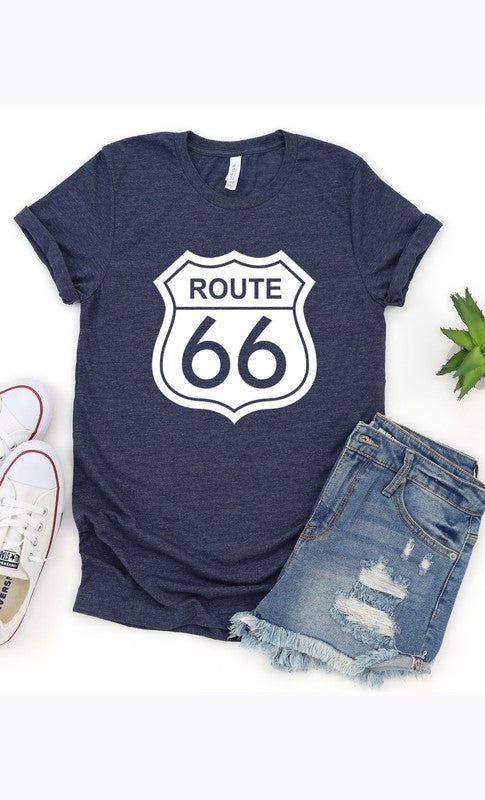 Route 66 Graphic Tee (Heather Navy)
