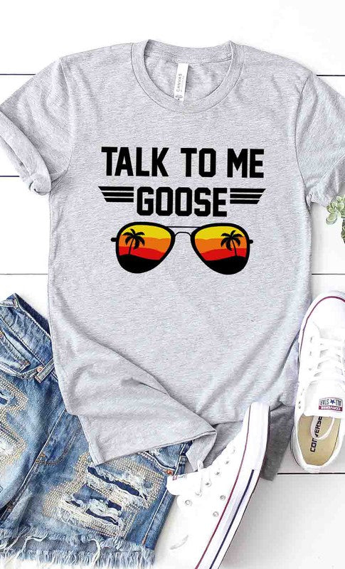 (Heather Grey) Talk to Me Goose Graphic Tee