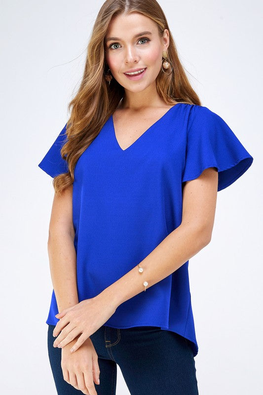 Back to Basics V Neck Flutter Sleeve Top (ROYAL BLUE)