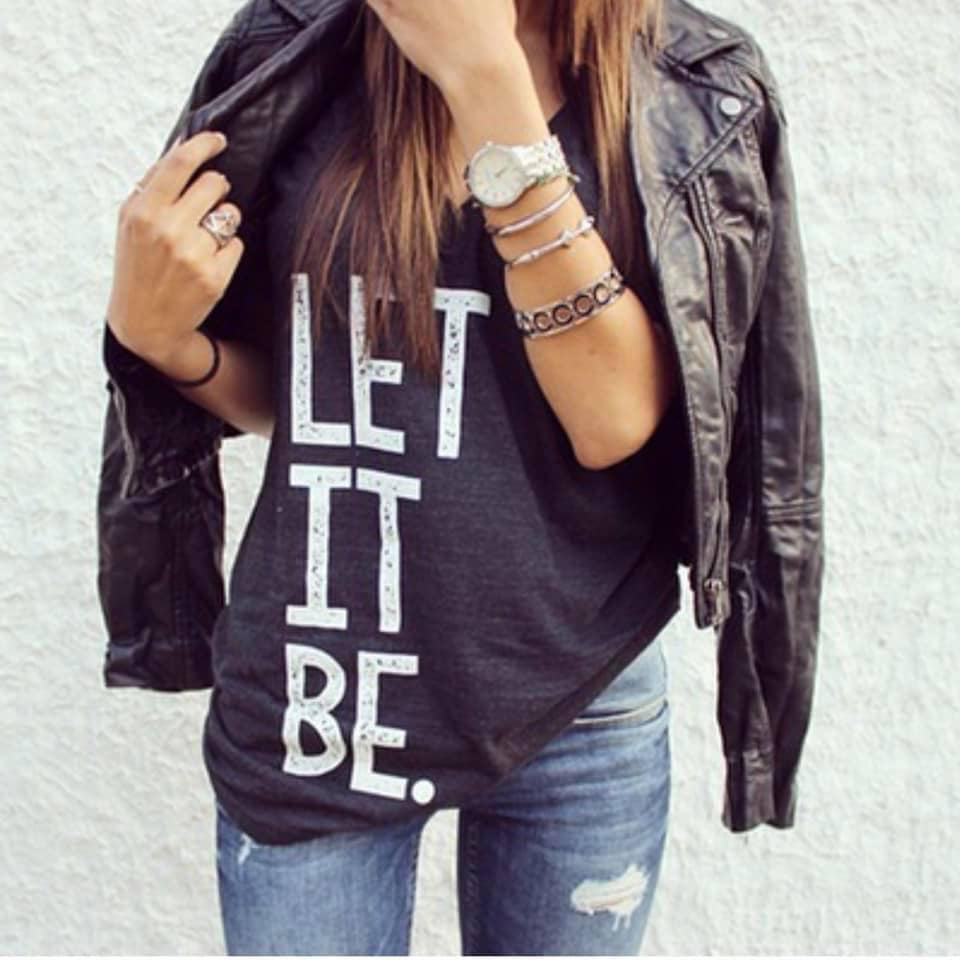 Let It Be VNeck Graphic Tee