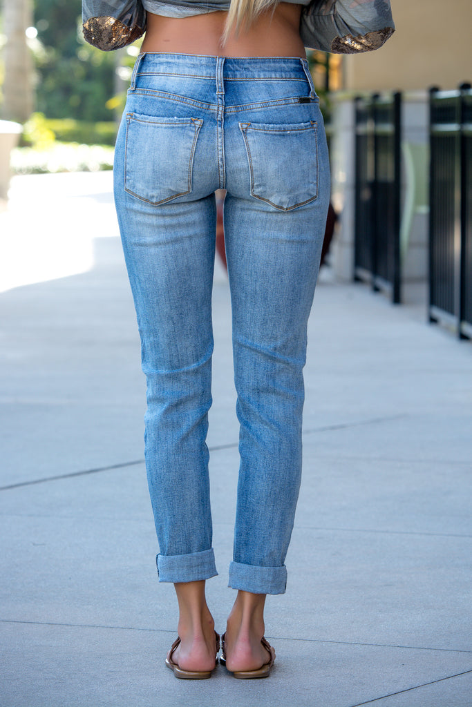 Girlfriend Fit Button Fly KANCAN Jeans - Simply Me Boutique Free Shipping