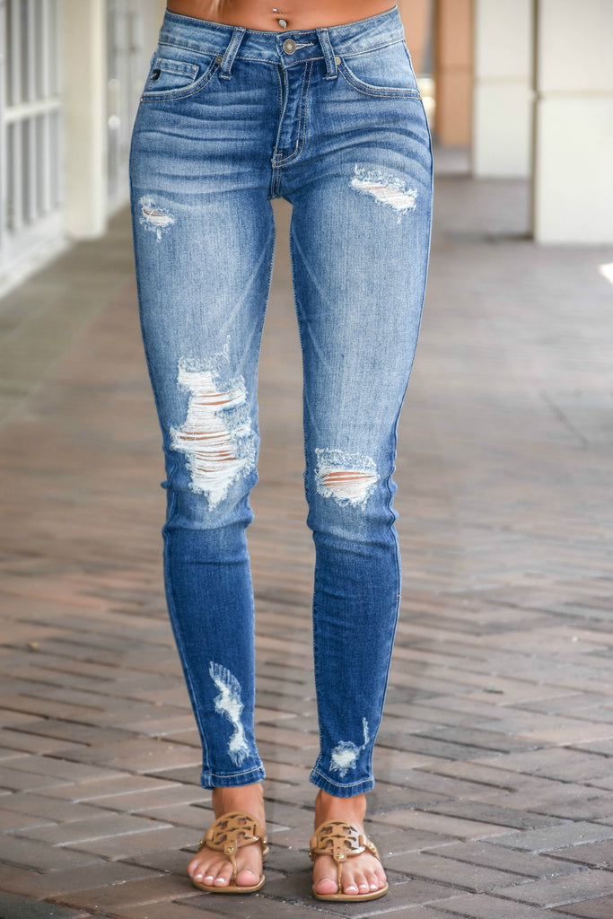 Stunner Destroyed Skinny Fit KanCan Jeans - Simply Me Boutique