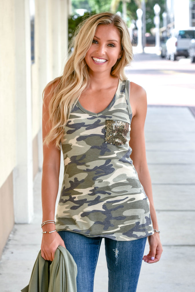 Camo Sequin Pocket Tank - Simply Me Boutique SMB