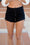 Beach Life Uneven Hem Black Shorts