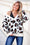 Eyes On You Leopard Print VNeck Sweater (Cream)