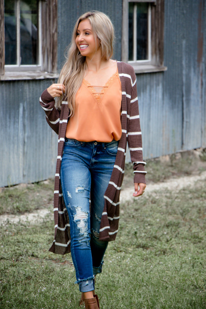 Stripes are my Jam Cardigan (BROWN) - Simply Me Boutique SMB