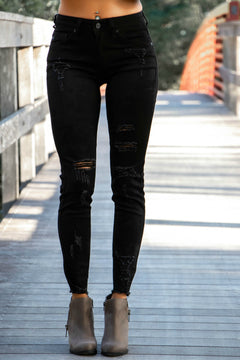 Edge of Glory Distressed Ankle KANCAN Low Mid Rise Jeans (Black)
