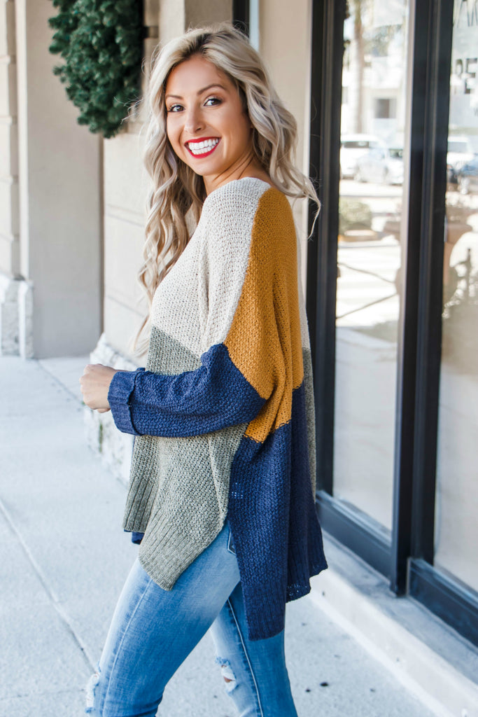 All She Wrote Colorblock Oversized Sweater - Simply Me Boutique Shop SMB