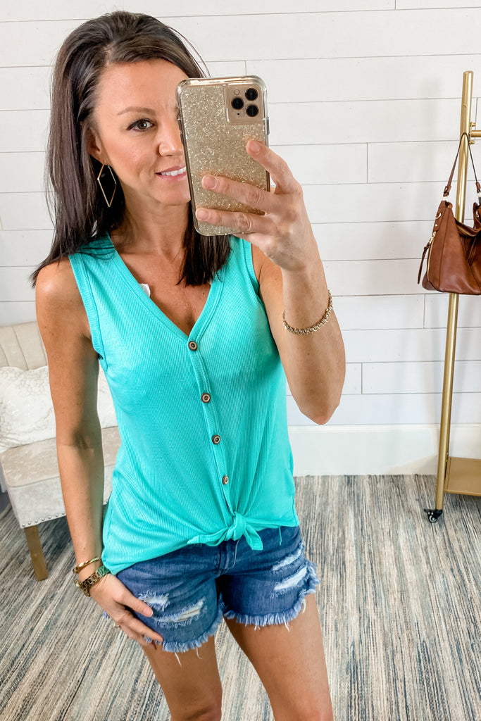 Just the Basics Tie Front Waffle Top (Mint)