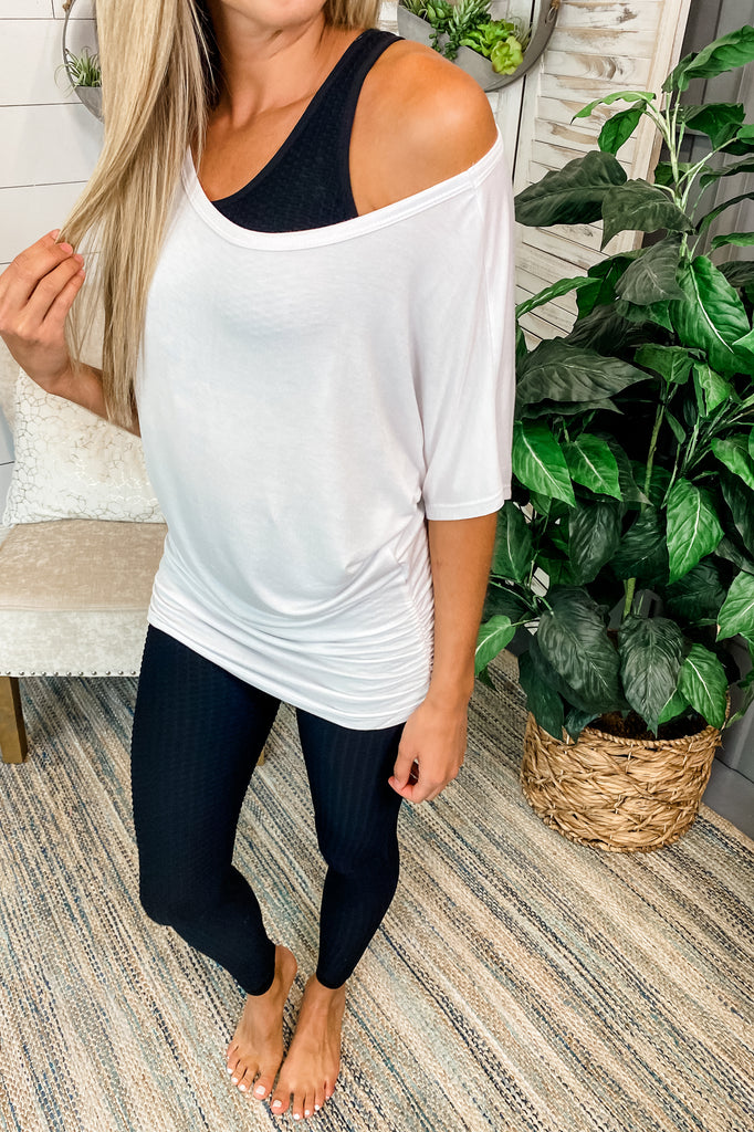 All the While Short Sleeve Boat Neck Top (White) Simply Me Boutique