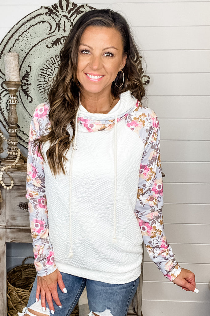 Floral Perfection Quilted Knit Double Hoodie