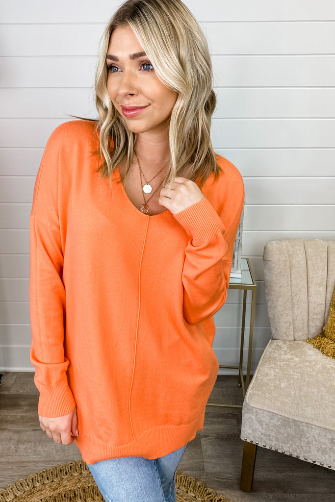 Bright Future Rounded V Neck Sweater (Carrot)
