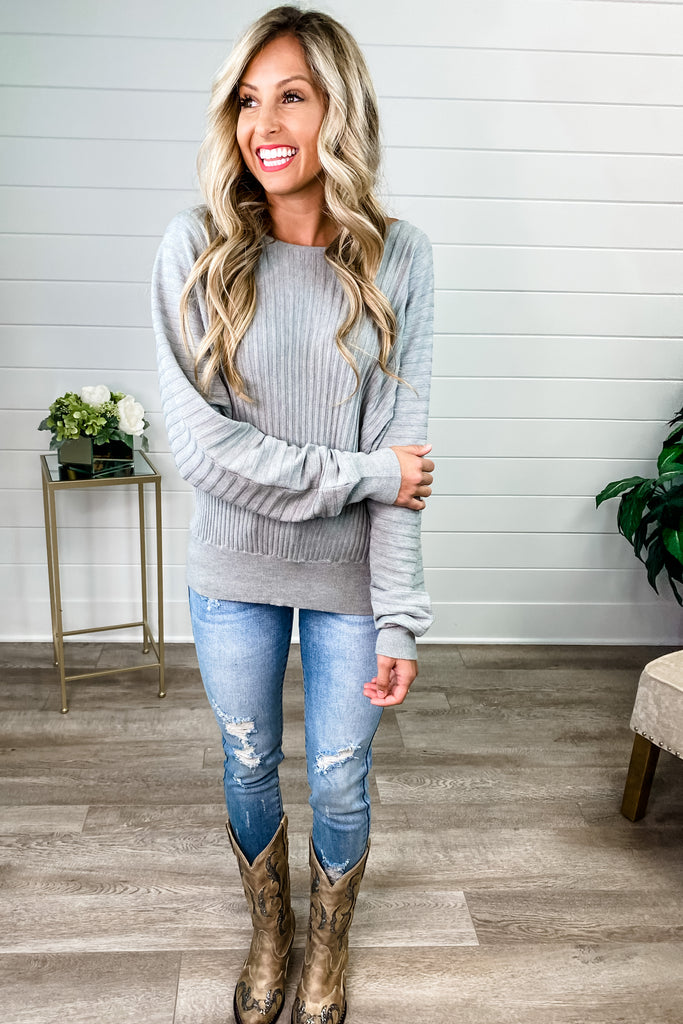 Ribbed Boat Neck Knit Sweater (Heather Grey)