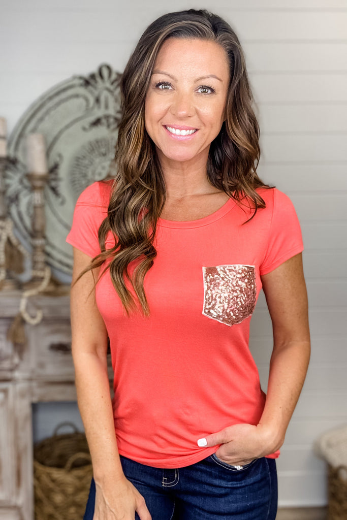 Better than Basic Sequin Pocket Top (Coral)