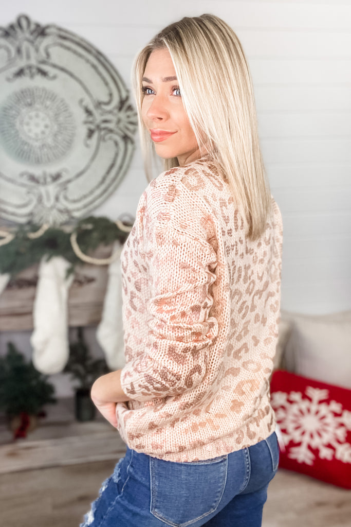 Rose Metallic Leopard Sweater