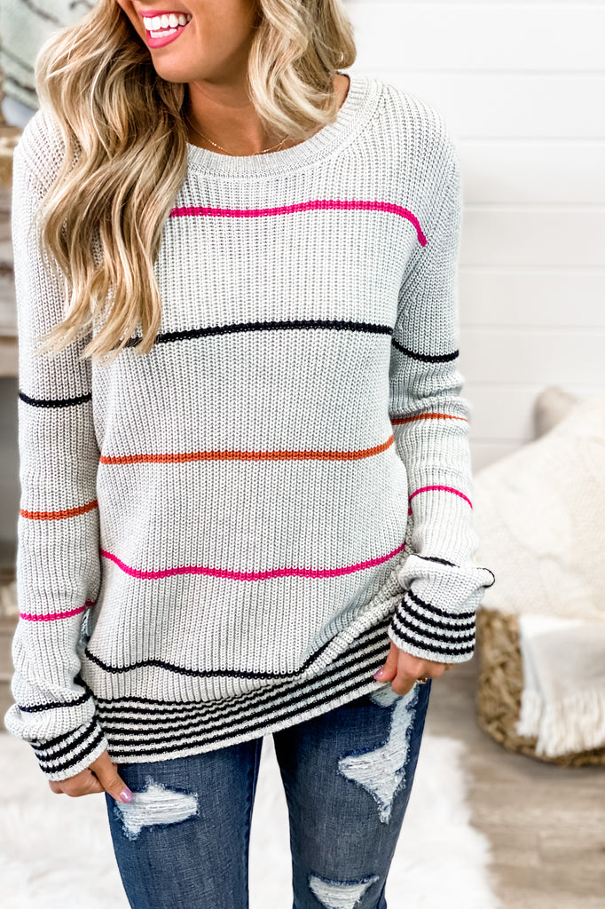 My Everything Grey Ribbed Knit Striped Sweater