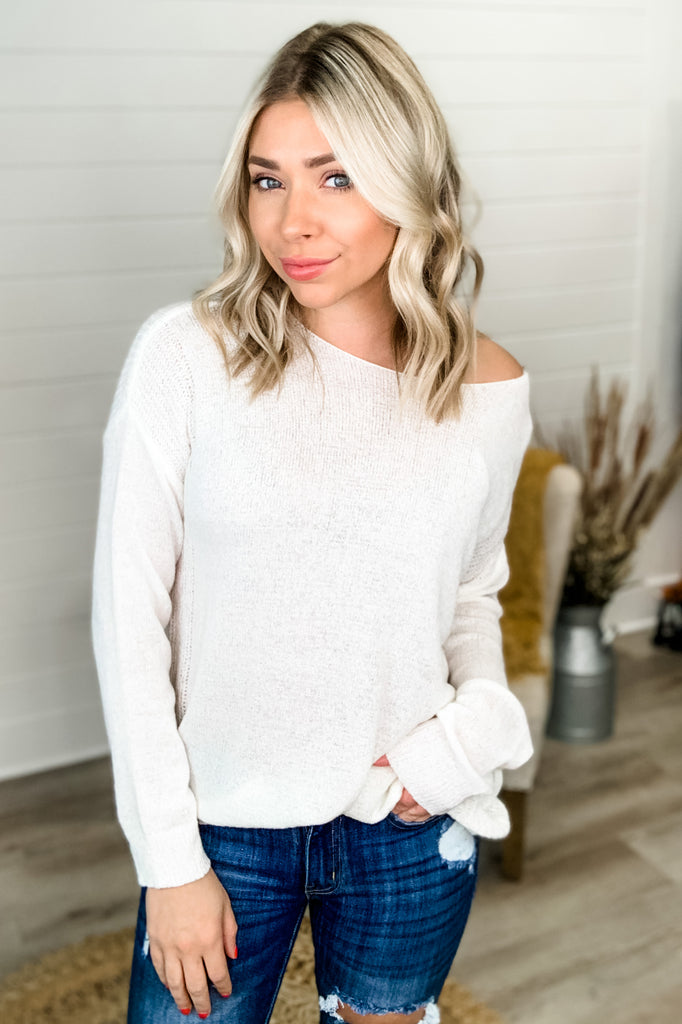 Old Flame Oversized Lightweight Sweater Top (Ivory)