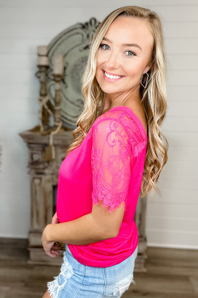 Never Any Doubt Lace Trim V Neck Top (HOT PINK)