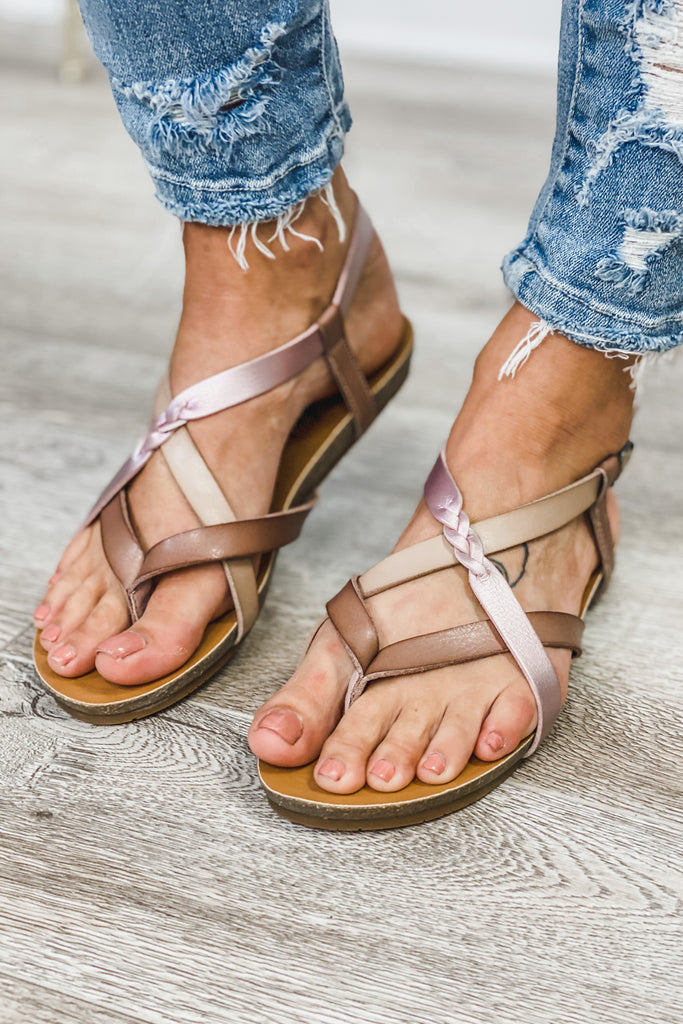 BLOWFISH Granola Braided Vegan Sandals (Mauve/Blush/Purple)