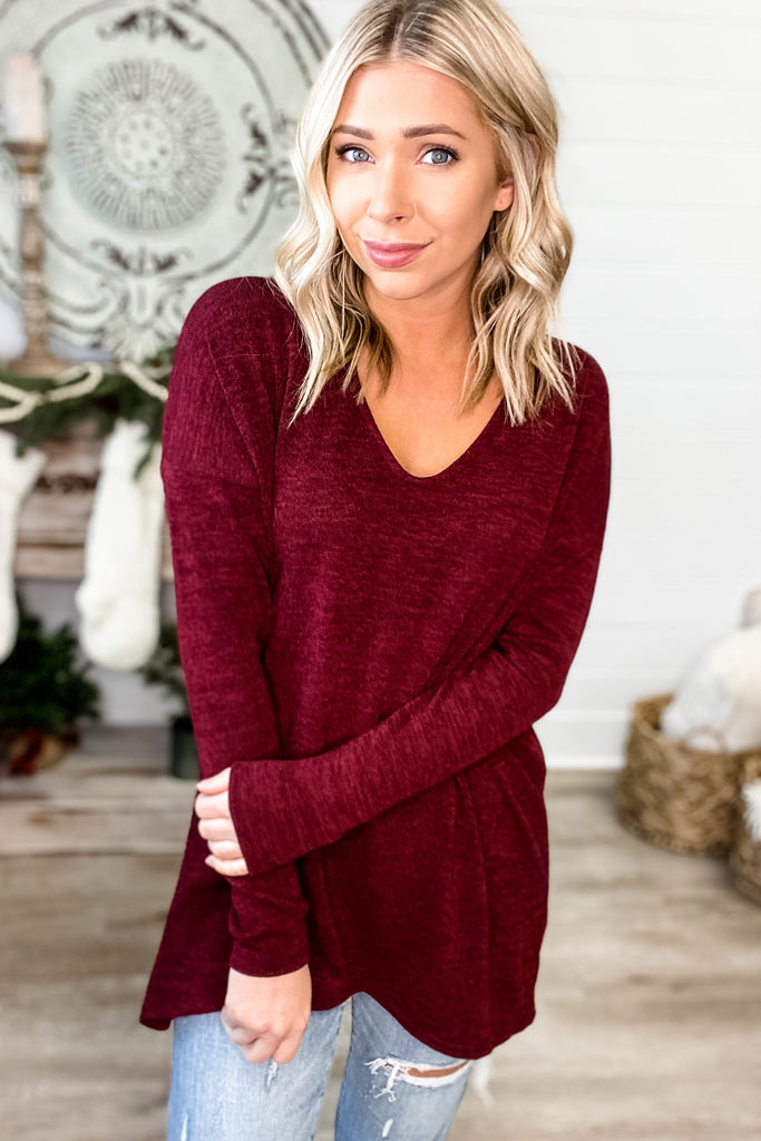 (Burgundy) On Repeat Long Sleeve Tunic Top