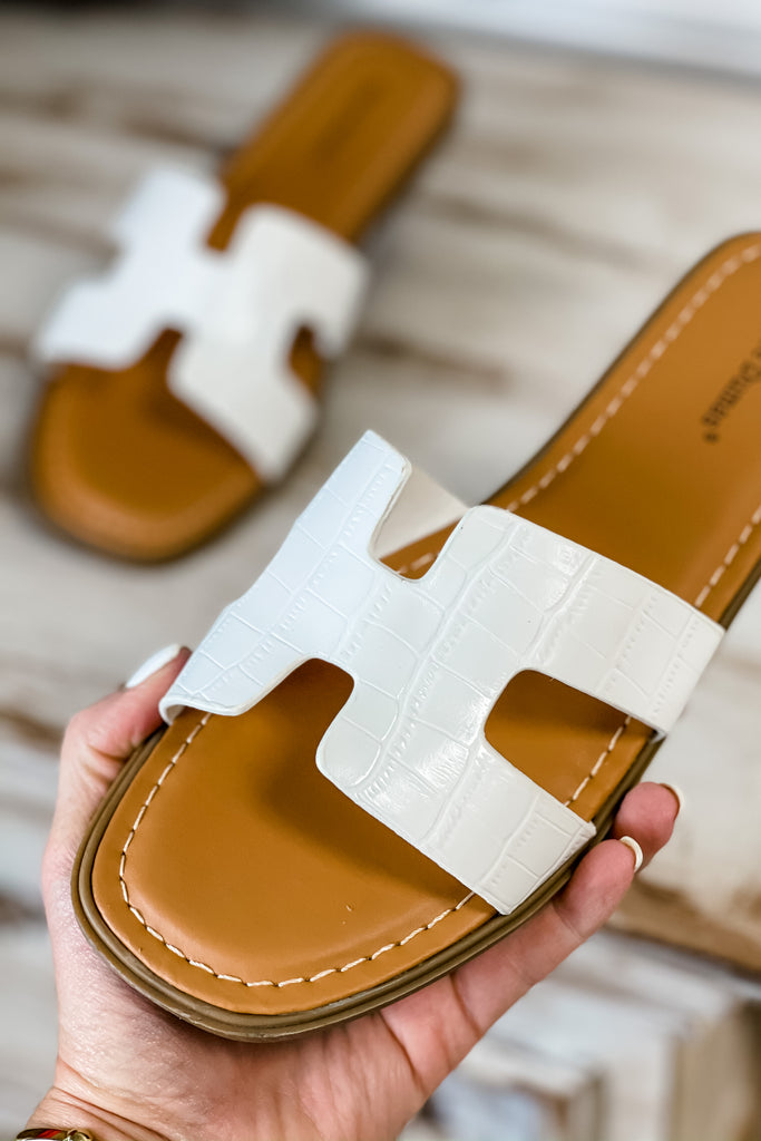 (White) Summertime Slide Sandals