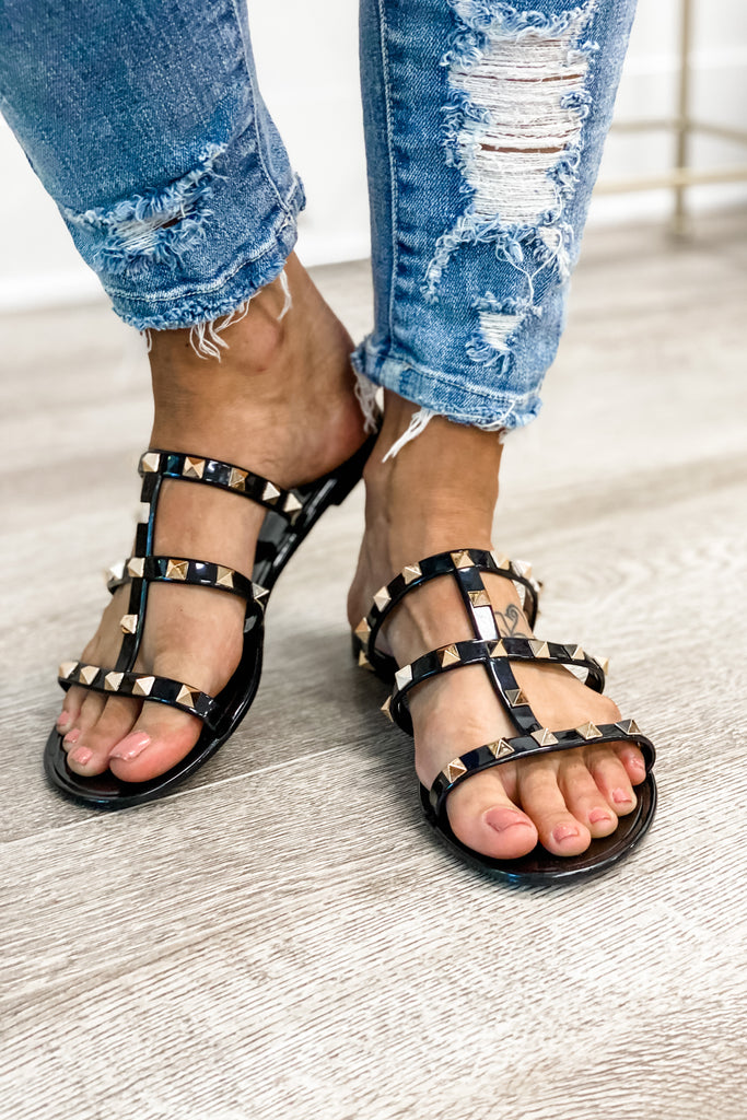 Studded Black Jelly Sandals NO BOX