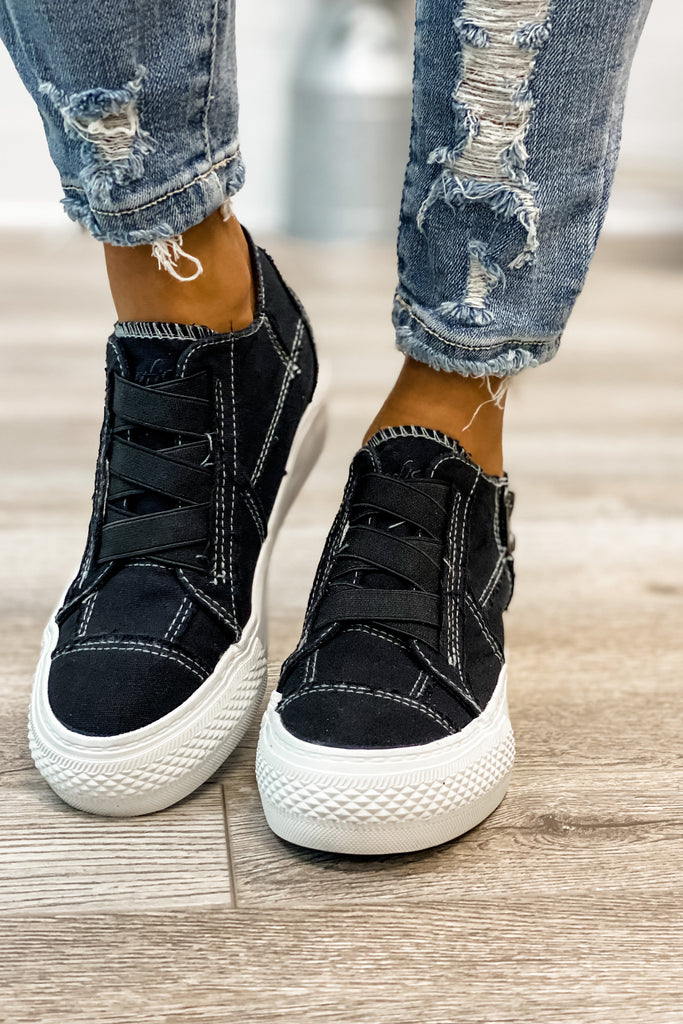 BLOWFISH Mamba Hidden Wedge Sneaker (Black Color Washed Canvas)