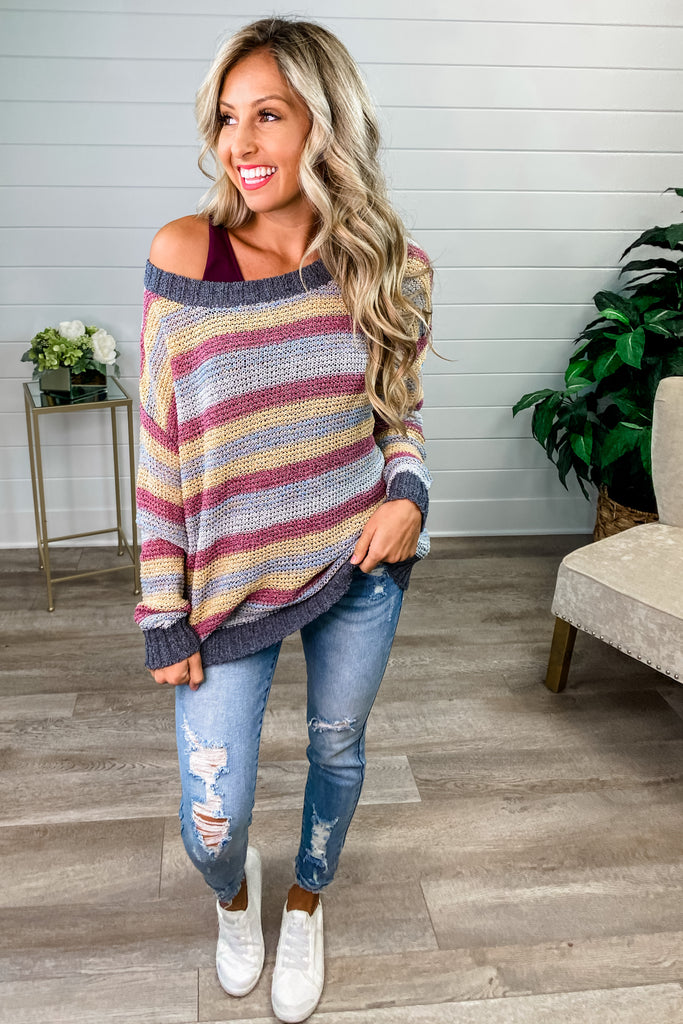 Tell Me About It Light Knit Multi Color Sweater