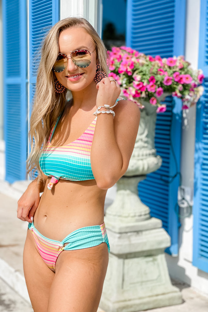 Bali Knotted Front Striped Bikini SET