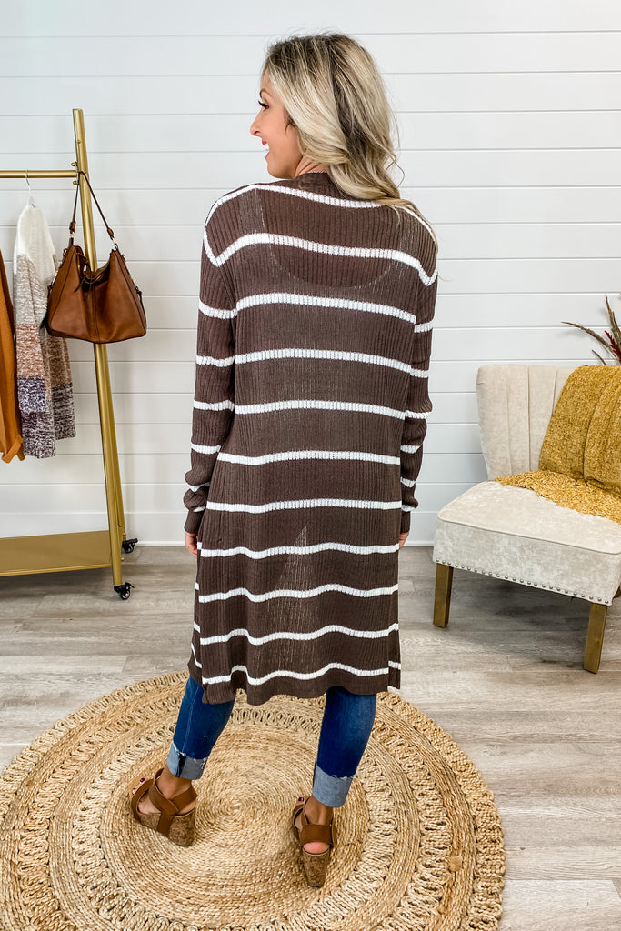 Stripes are My Jam Cardigan (Brown)