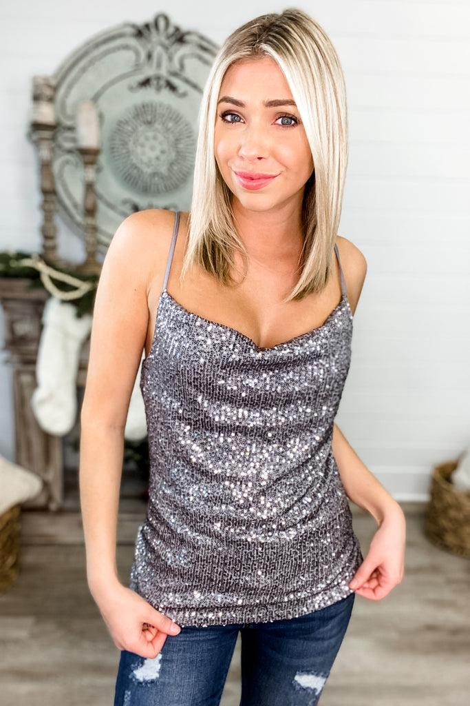 Dancing in the Dark Sequin Cami (Silver)