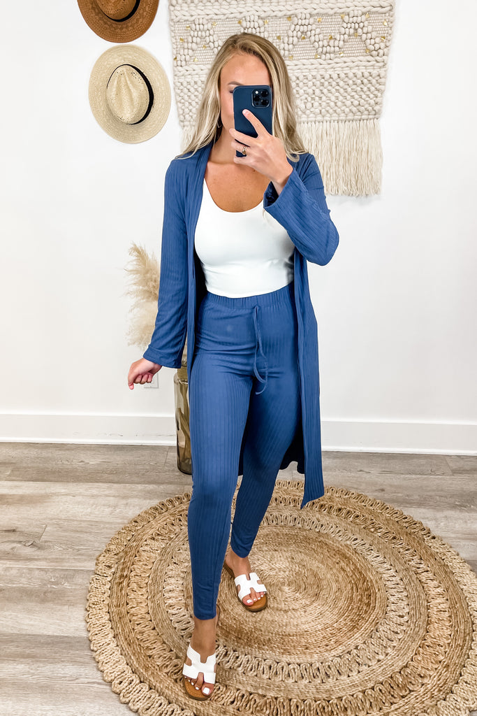 (Blue) Ribbed Cardigan & Leggings SET