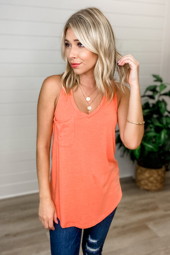 Z SUPPLY The Pocket Racer Tank (Tropical Coral)